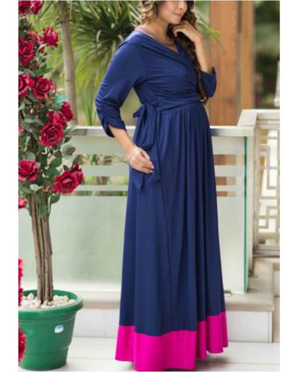Blue contrast front wrap maternity & nursing dress 1