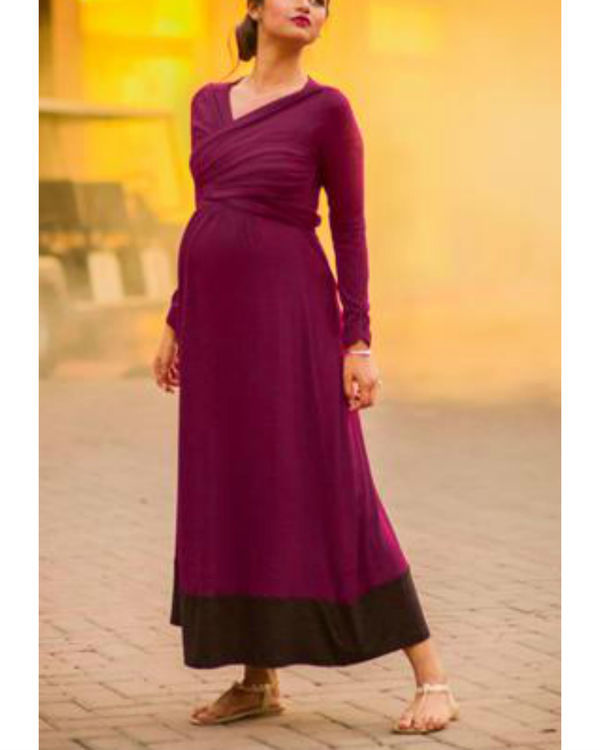 Elegant mulberry wine front wrap maternity & nursing dress 1