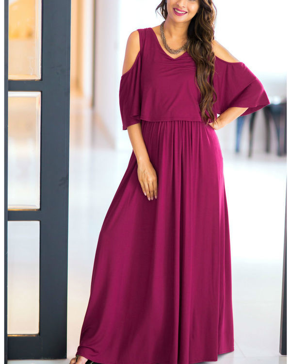 Sangria cold shoulder maternity & nursing maxi dress 1