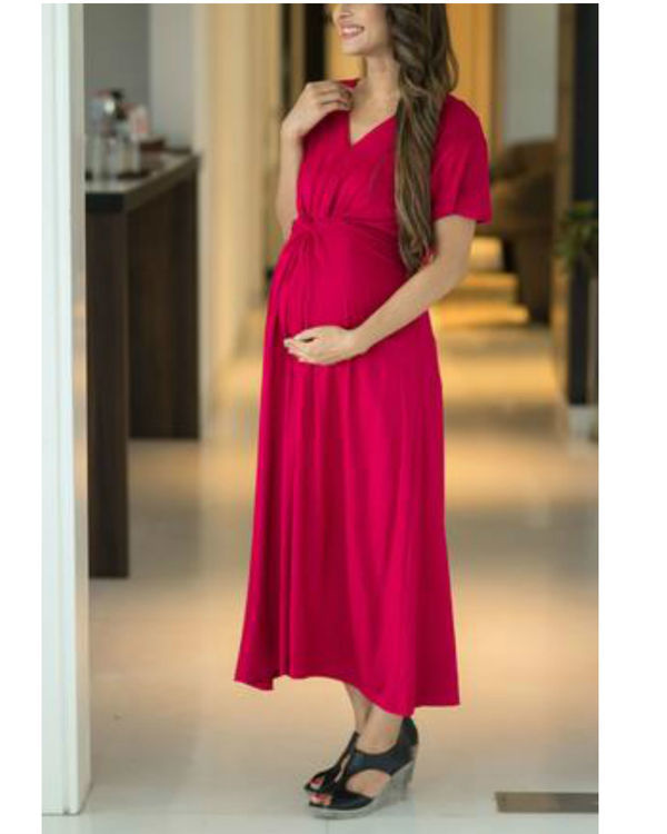 Royal carnation front knot lycra maternity dress 1