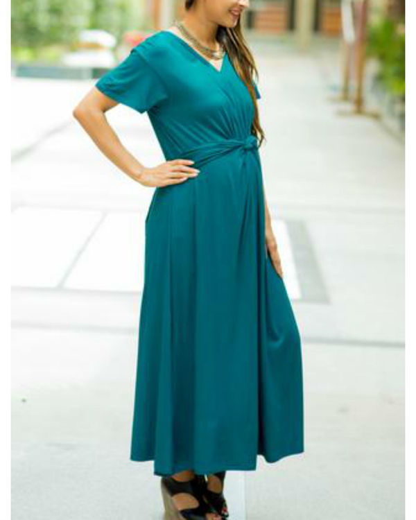 Emerald front knot lycra maternity dress 1
