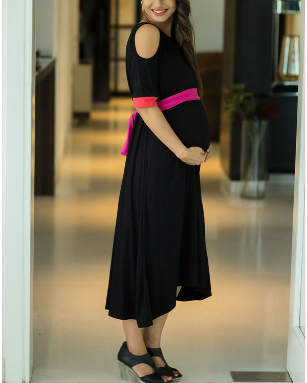 Chic black cold shoulder maternity dress 2