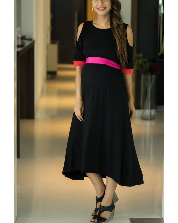 Chic black cold shoulder maternity dress 1