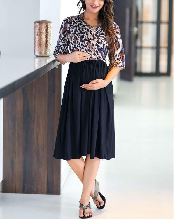Animal print wrap tie maternity & nursing dress 1