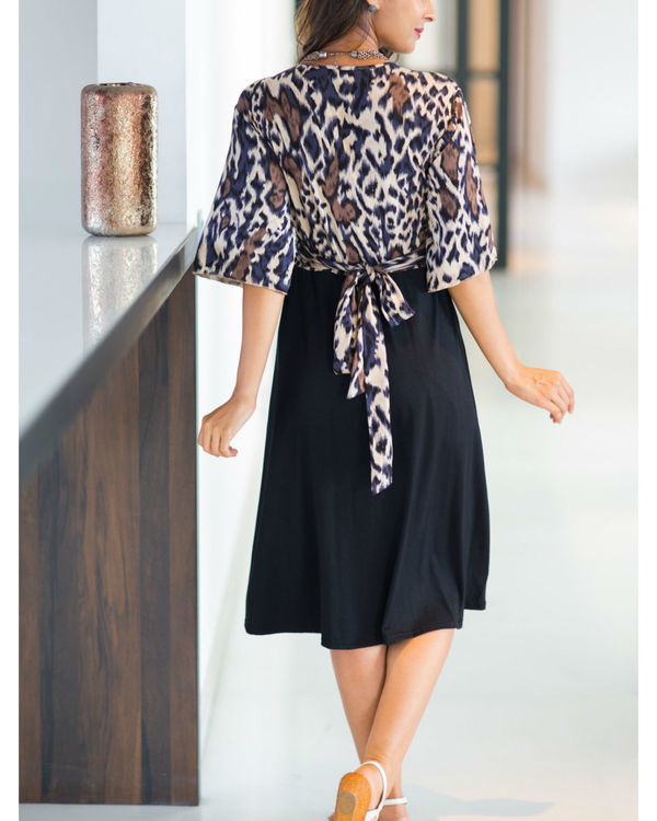 Animal print wrap tie maternity & nursing dress 1