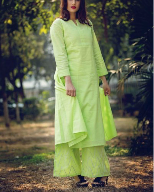 Lime green anarkali suit with palazzo and inner 2
