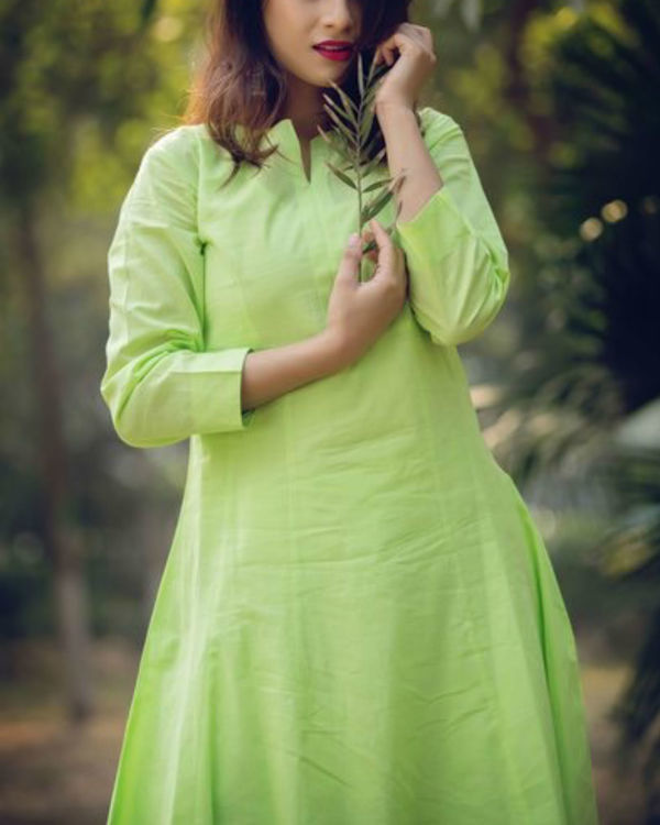 Lime green anarkali suit with palazzo and inner 1