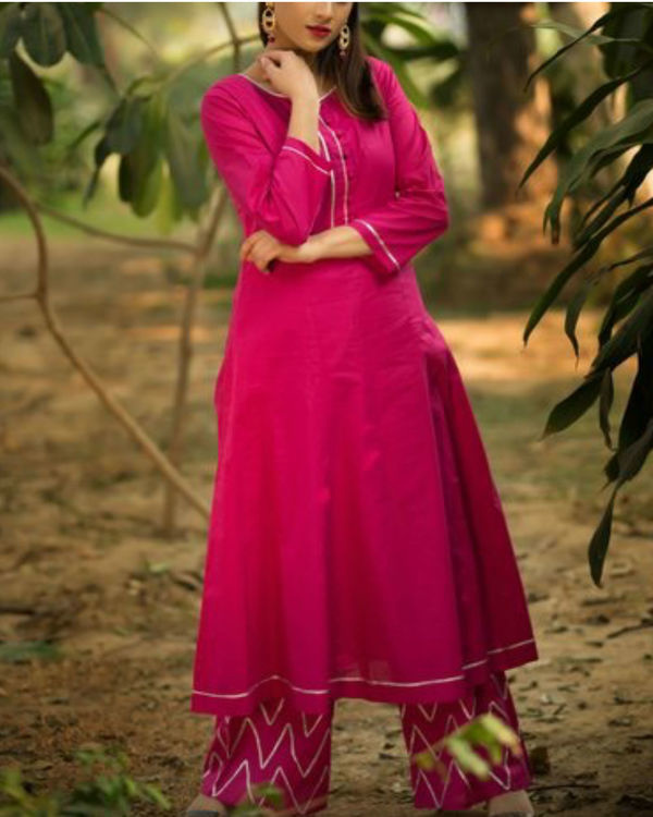 Dark magenta anarkali suit with palazzo 1