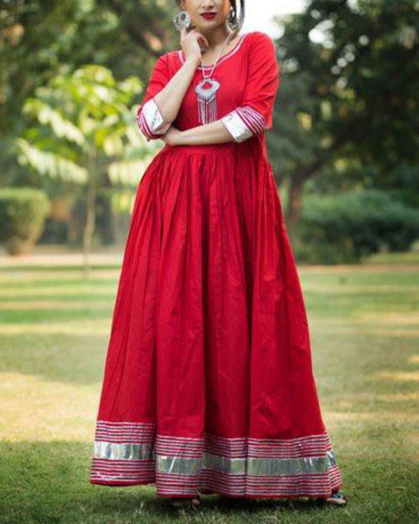 Red floor length anarkali with blue palazzo 2