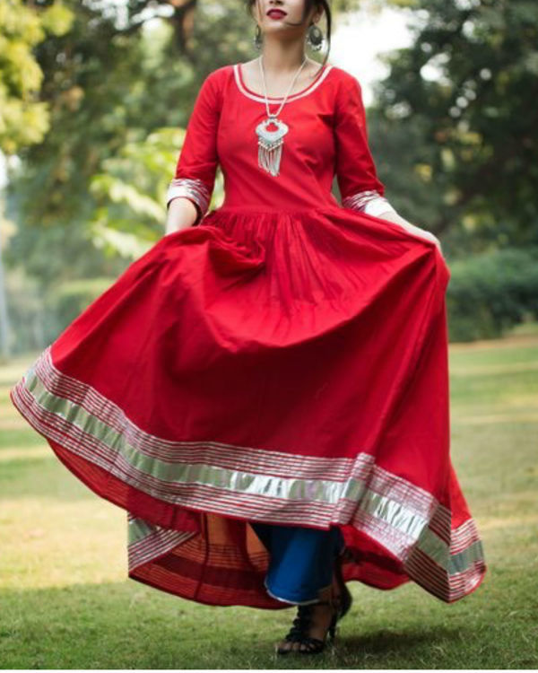 Red floor length anarkali with blue palazzo 1