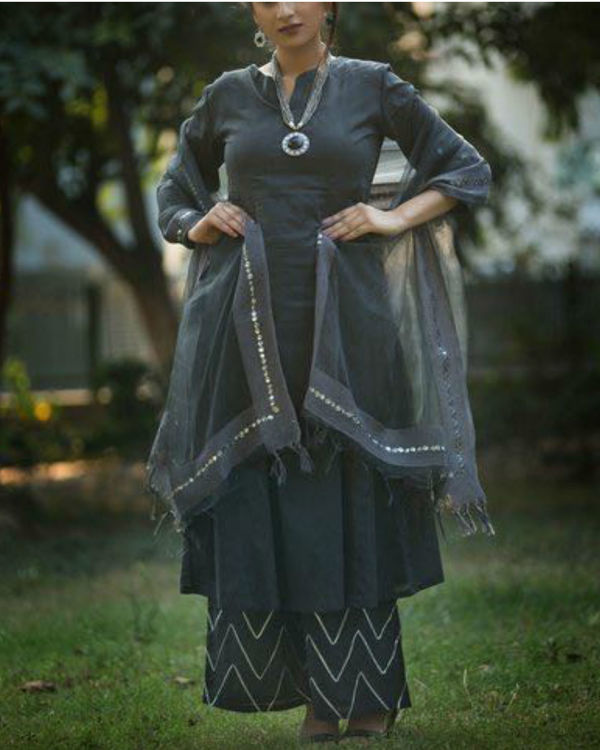 Grey anarkali suit with palazzo and chanderi net dupatta 3