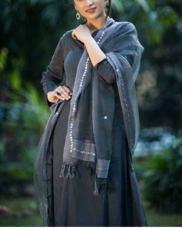 Grey anarkali suit with palazzo and chanderi net dupatta 1