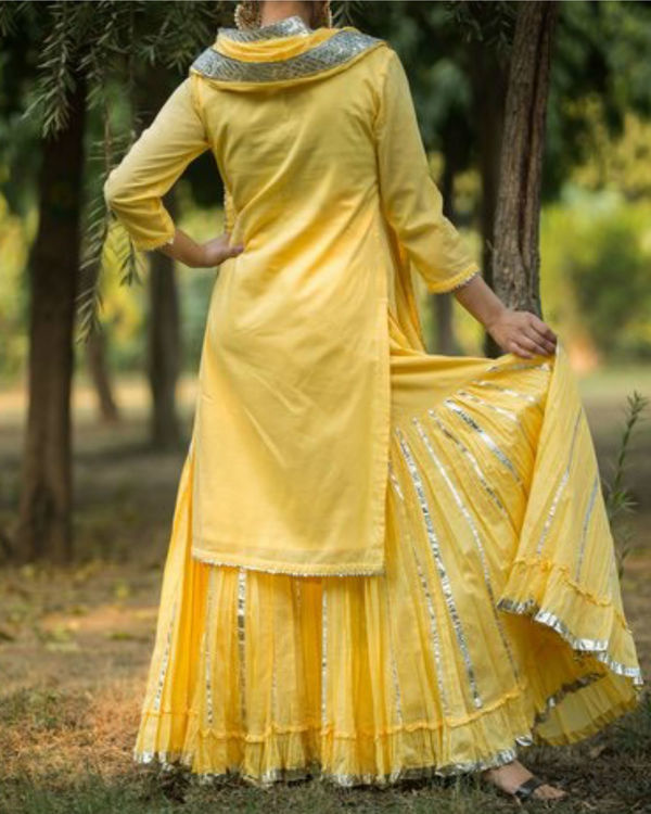 Yellow gotta patti sharara with dupatta 1