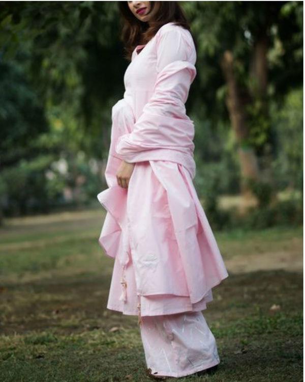 Baby pink anarkali with palazzo & dupatta 2