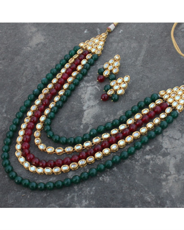 Mehreen red and green oynx and kundan long necklace set 2