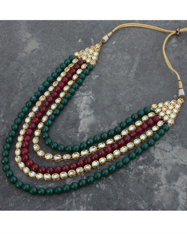 Mehreen red and green oynx and kundan long necklace set 1