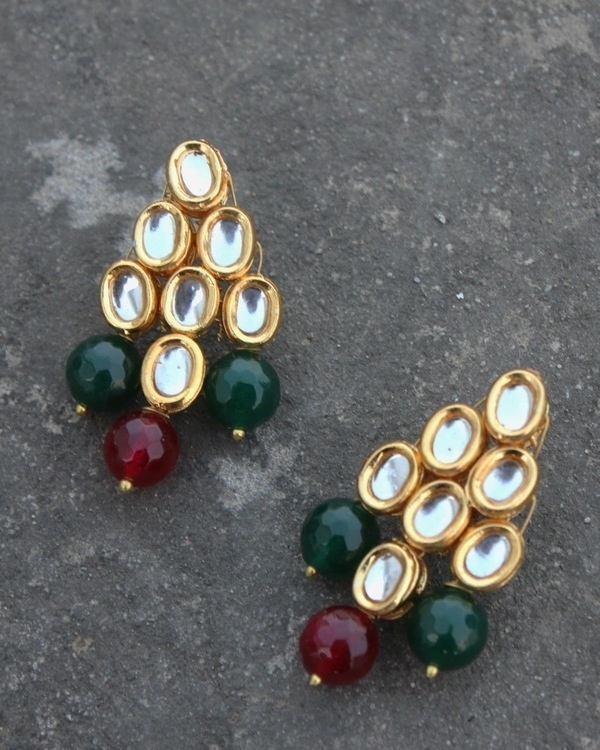 Mehreen red and green oynx and kundan long necklace set 3