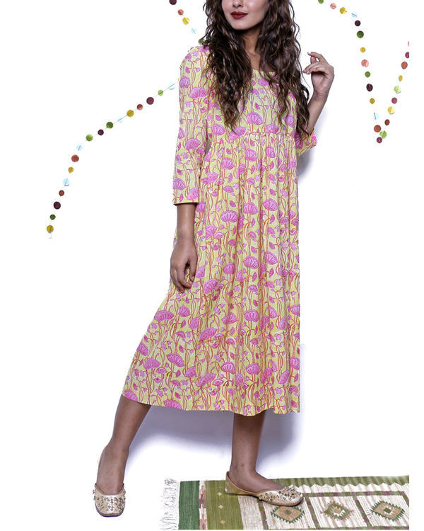 Pink & yellow floral summer dress 3