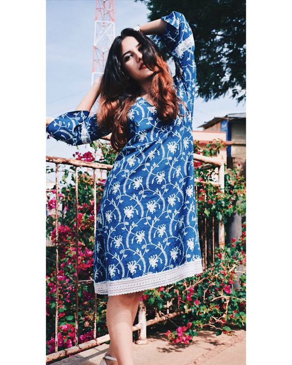 Floral jaal indigo dress 2