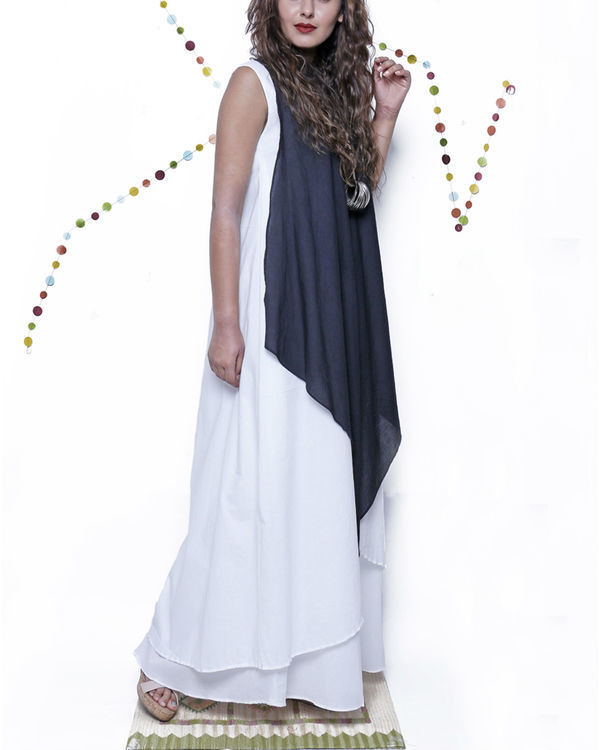 Colorblock long gown 1