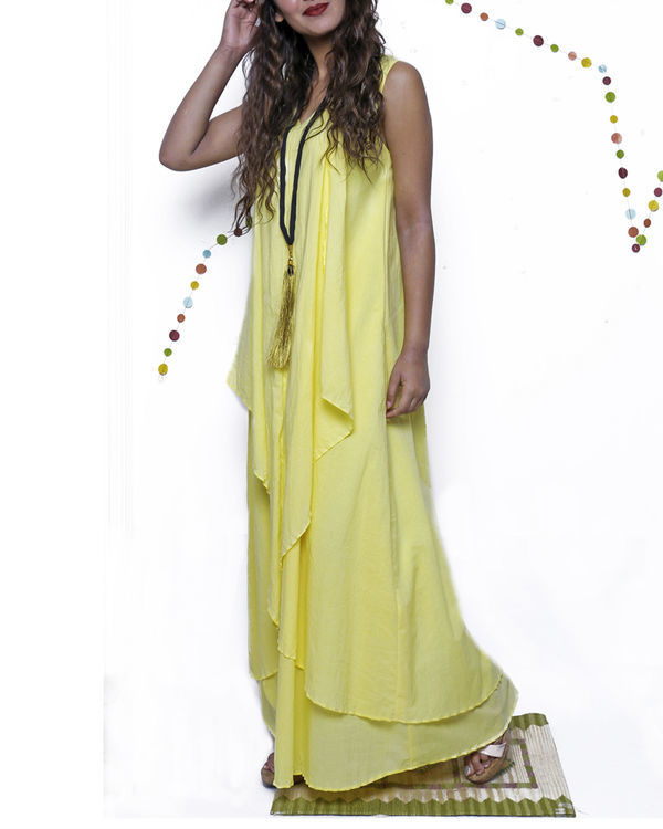 Yellow layered long gown 3