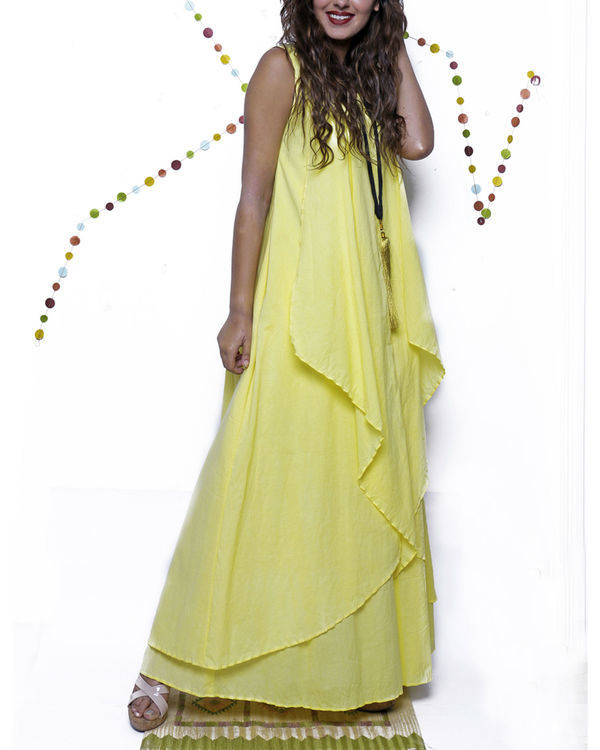 Yellow layered long gown 2