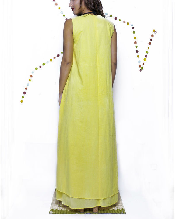 Yellow layered long gown 1