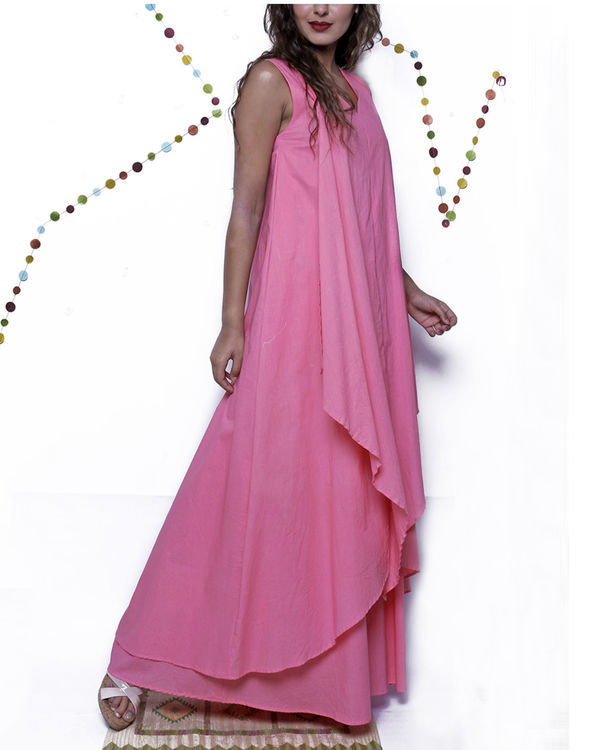 Pink layered long gown 3