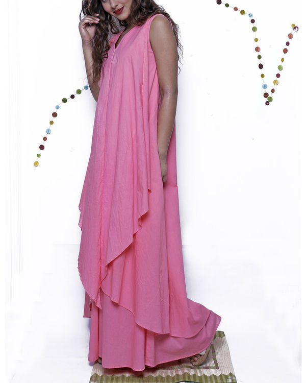 Pink layered long gown 2