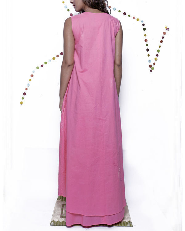 Pink layered long gown 1