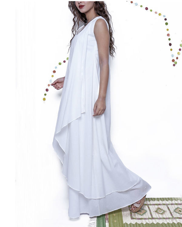White layered long gown 3