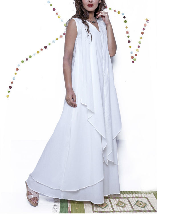 White layered long gown 2