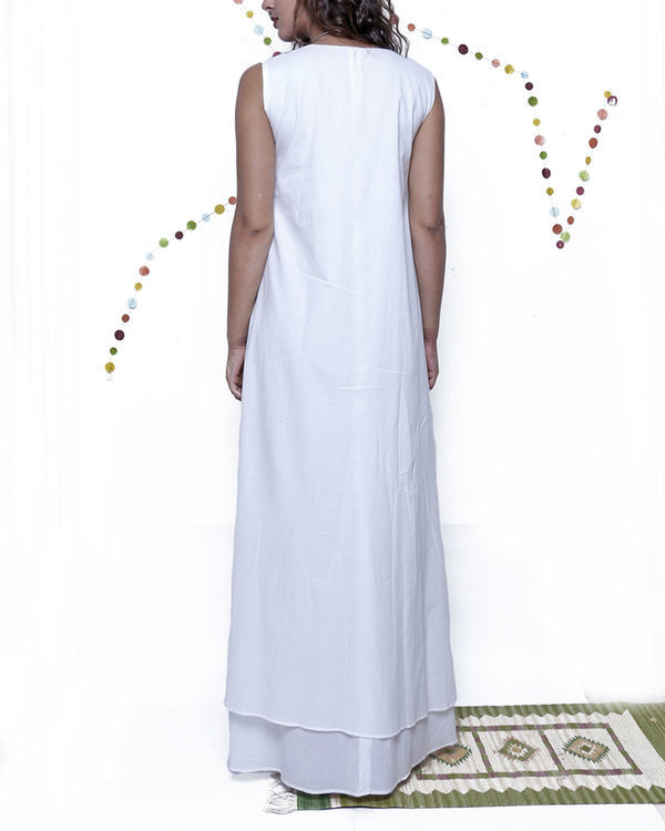 White layered long gown 1