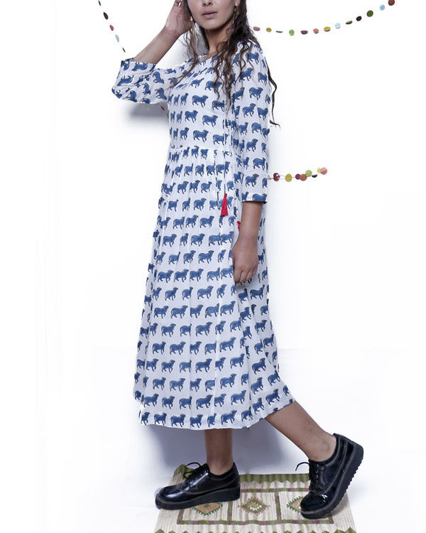 Navy Blue and white printed dress 3