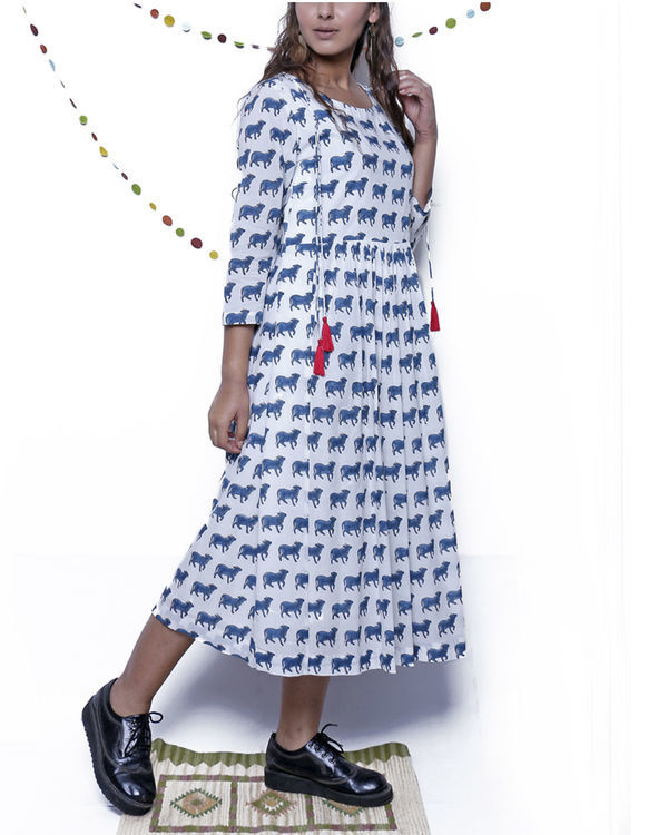 Navy Blue and white printed dress 2