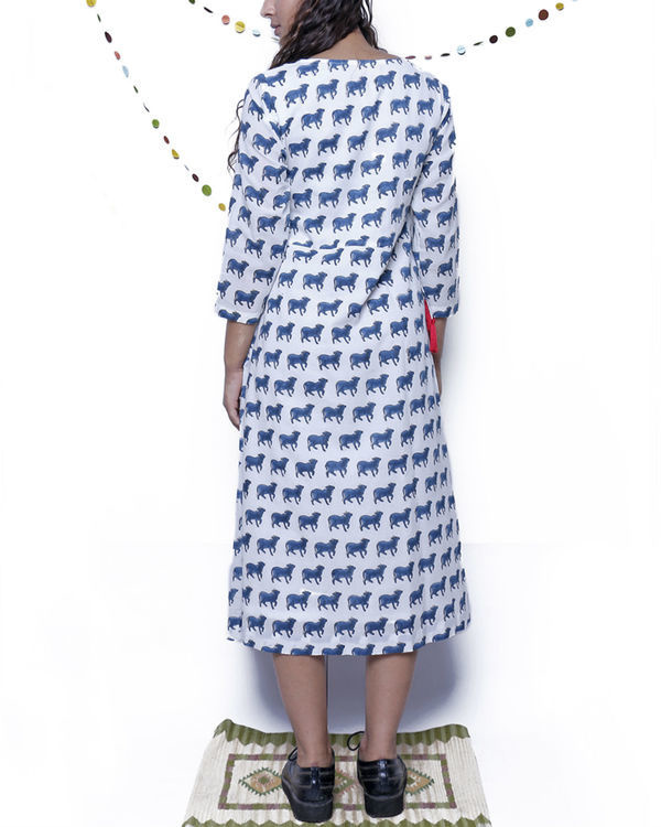 Navy Blue and white printed dress 1