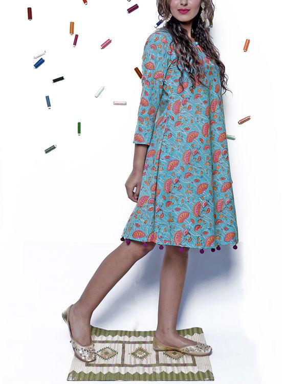 Bright blue pompom dress 2