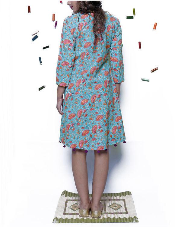 Bright blue pompom dress 1