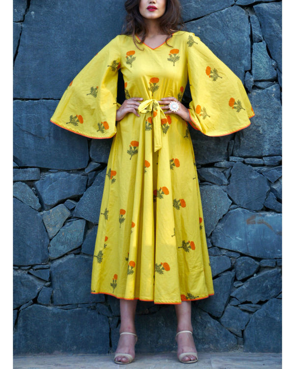 Lemon yellow poppy block printed maxi 2