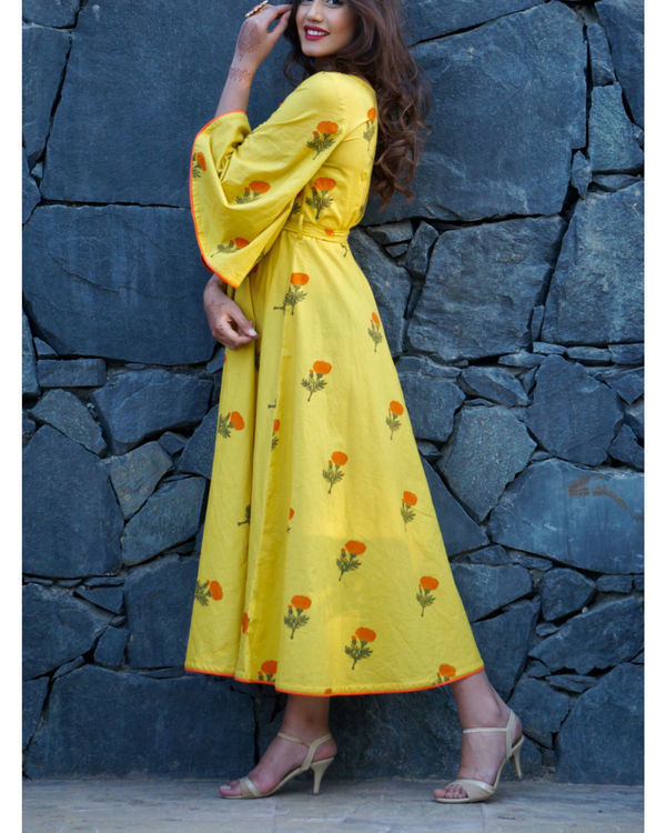 Lemon yellow poppy block printed maxi 1