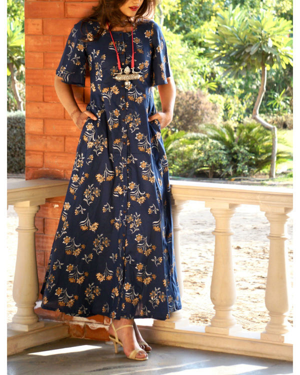 Navy blue floral button down maxi 2