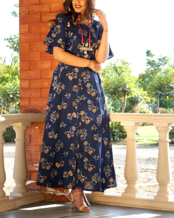 Navy blue floral button down maxi 1