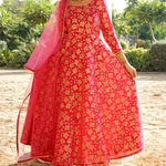 Thumb pink rose gold anarkali with net duphatta and gotta detailing