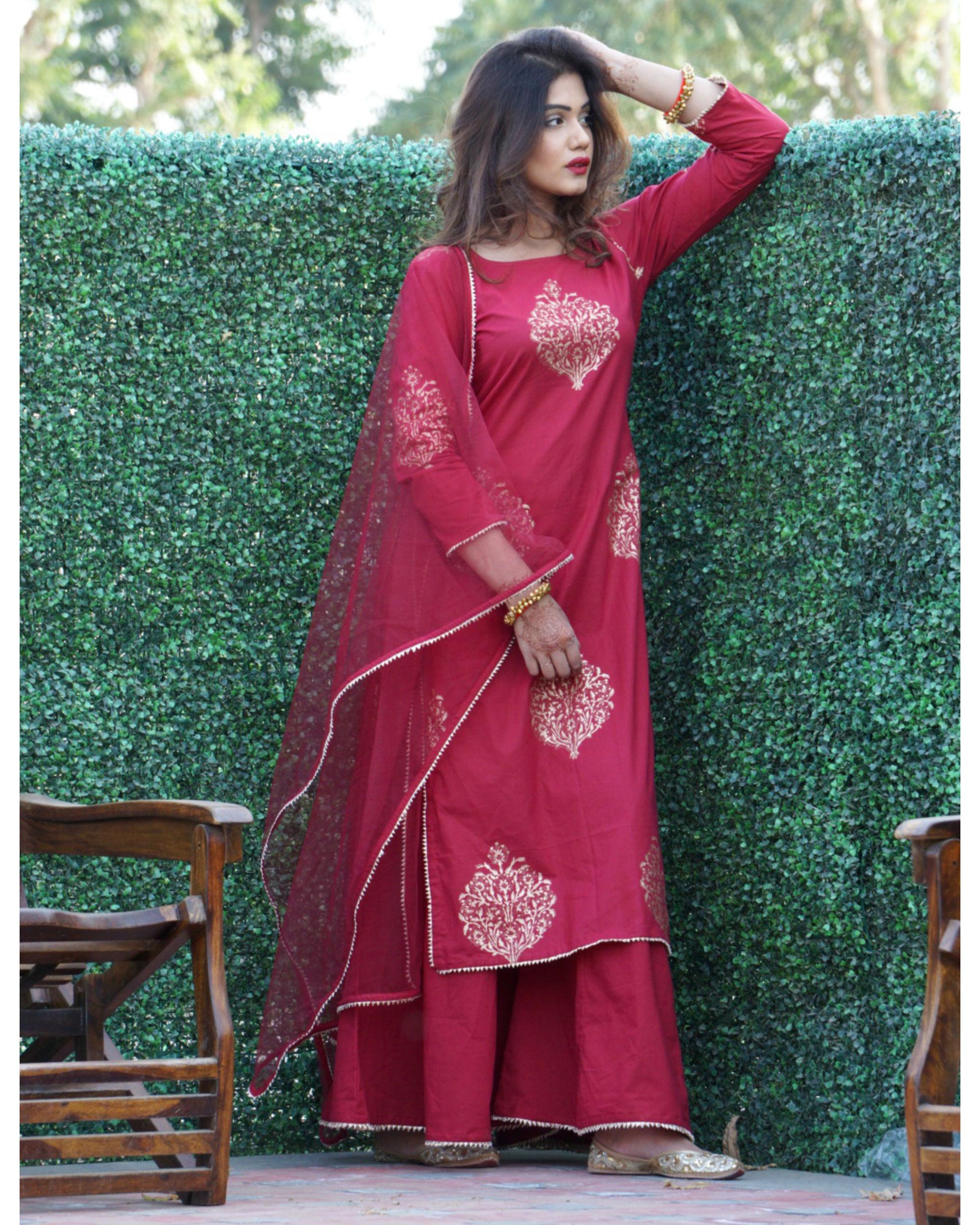 Ihram Kids For Sale Dubai: Maroon Gold Print Sharara Set With Net Dupatta By Rivaaj