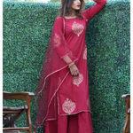 Thumb maroon gold  print kurta with sharara pants and net duphatta