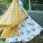 Thumb mughal motif block printed flair anarkali with contrast cotton duphatta with silver gotta detailing