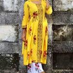 Thumb yellow block printed with palazzo pants and duphatta