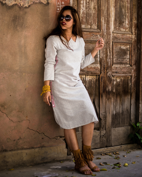 Side-button down- midi dress 2