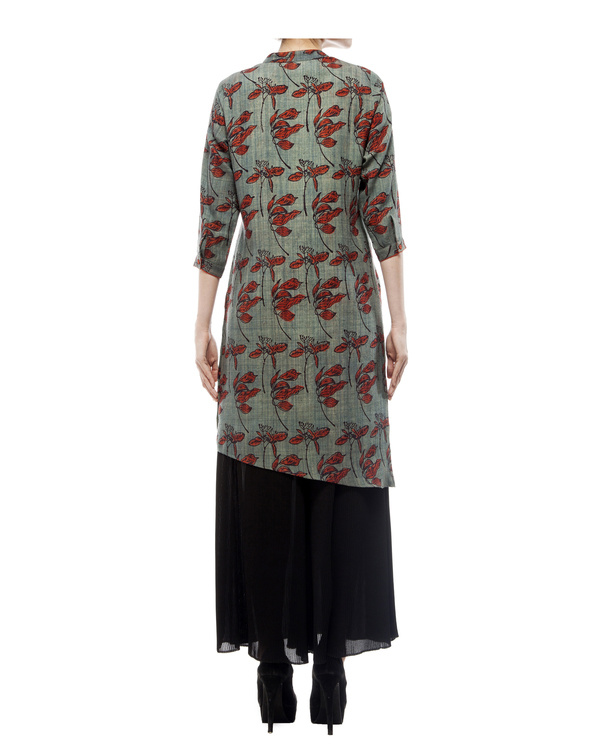 Asymmetric tunic with leaf print 3