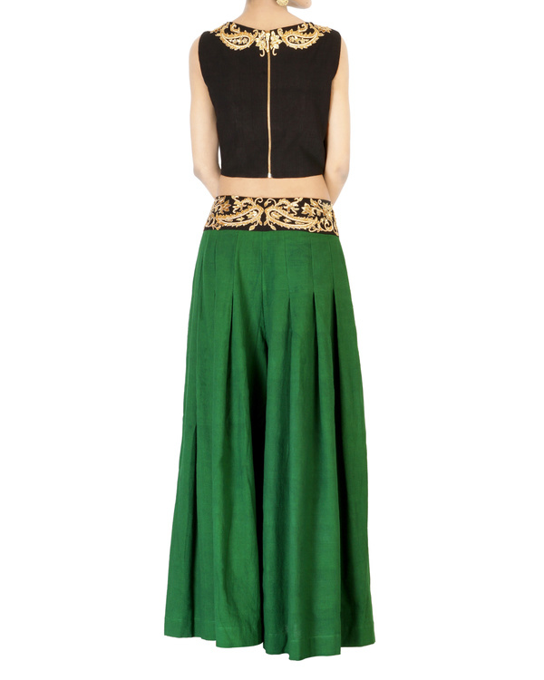 Bottle green embroidered palazzo pants 1